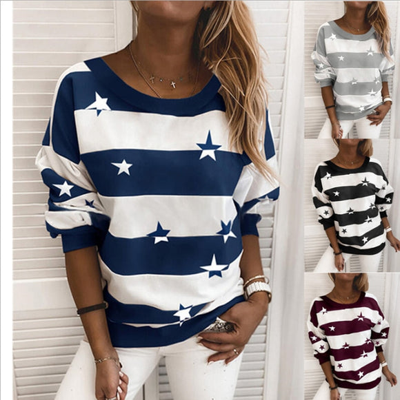 New Women's Round Neck Thick Stripe Printed Sweater Star Pattern Long Sleeve Top Women's Loose Sweater Autumn / Winter 2020