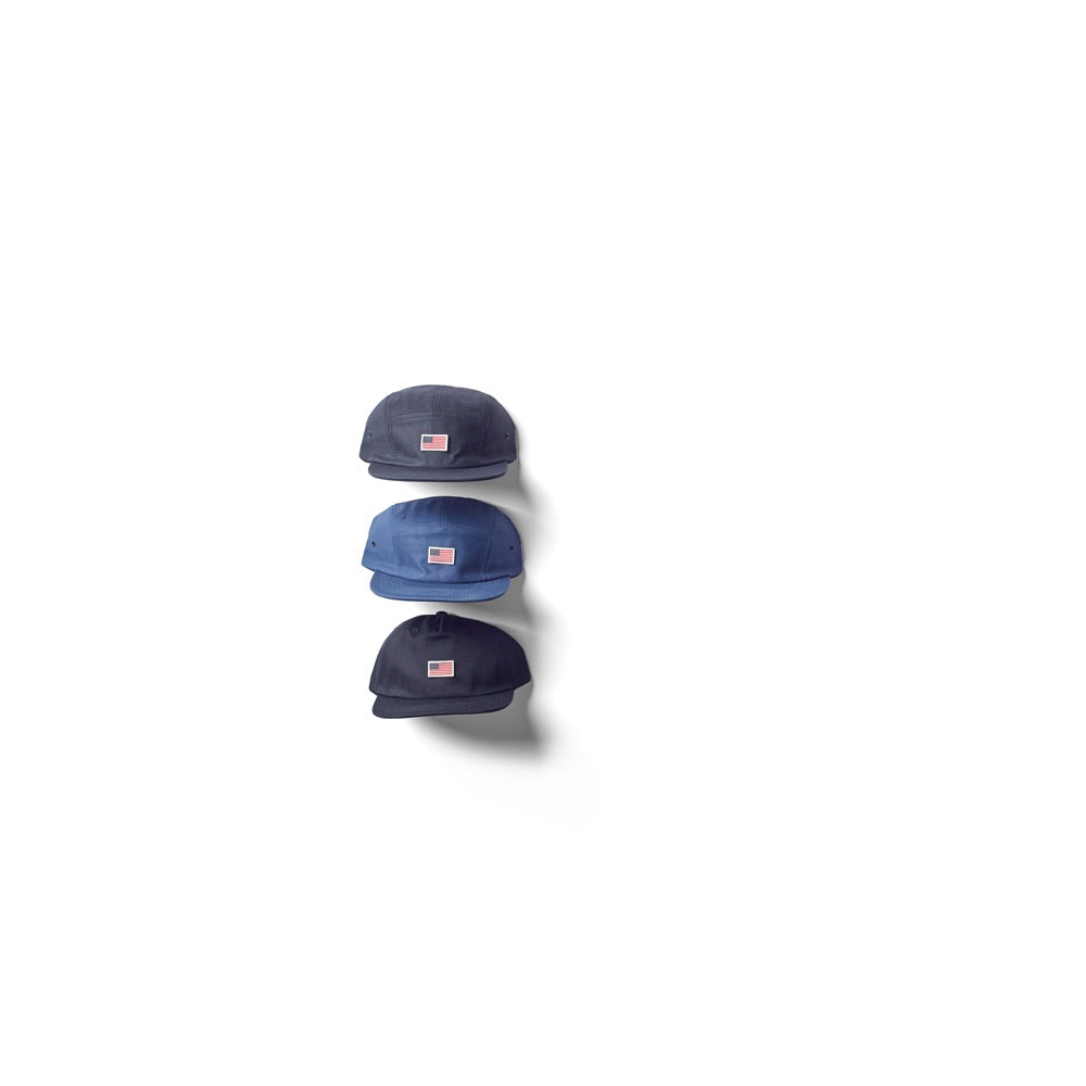 US Flag Cotton 5 panel Cap - Black