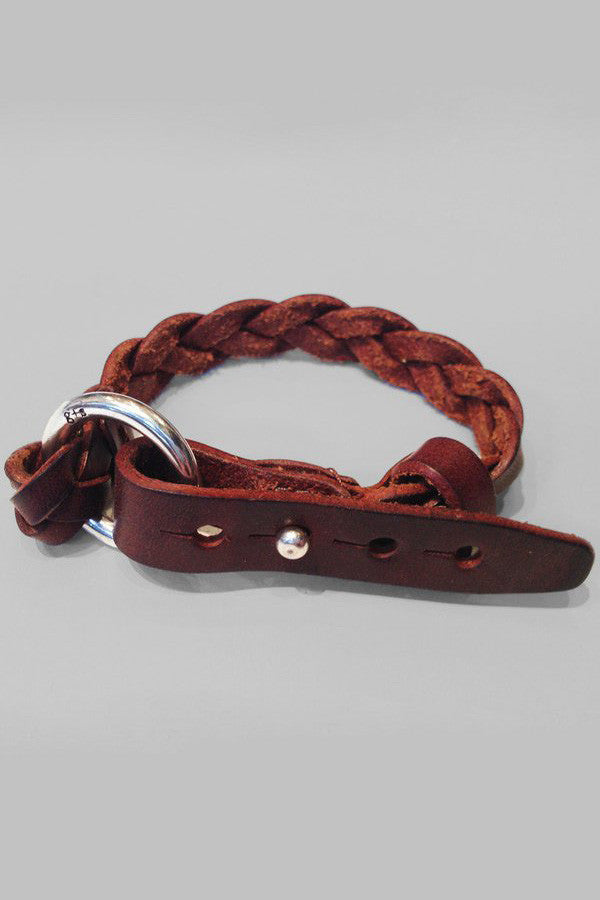 Leather Braided Cuff - Chocolate
