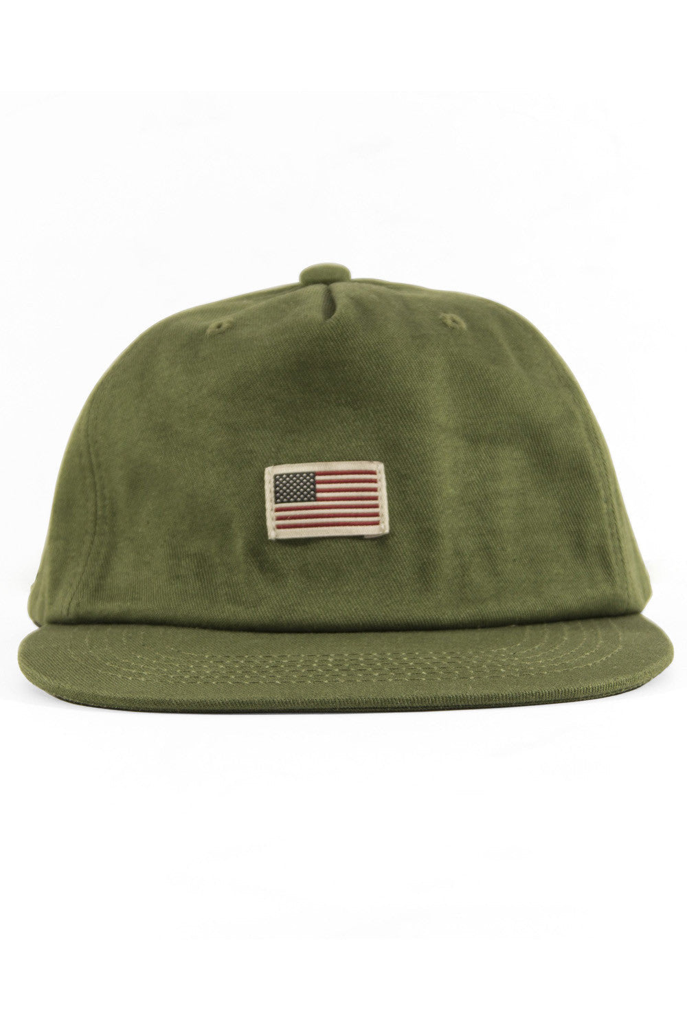 US Flag Cotton Baseball Cap - Olive