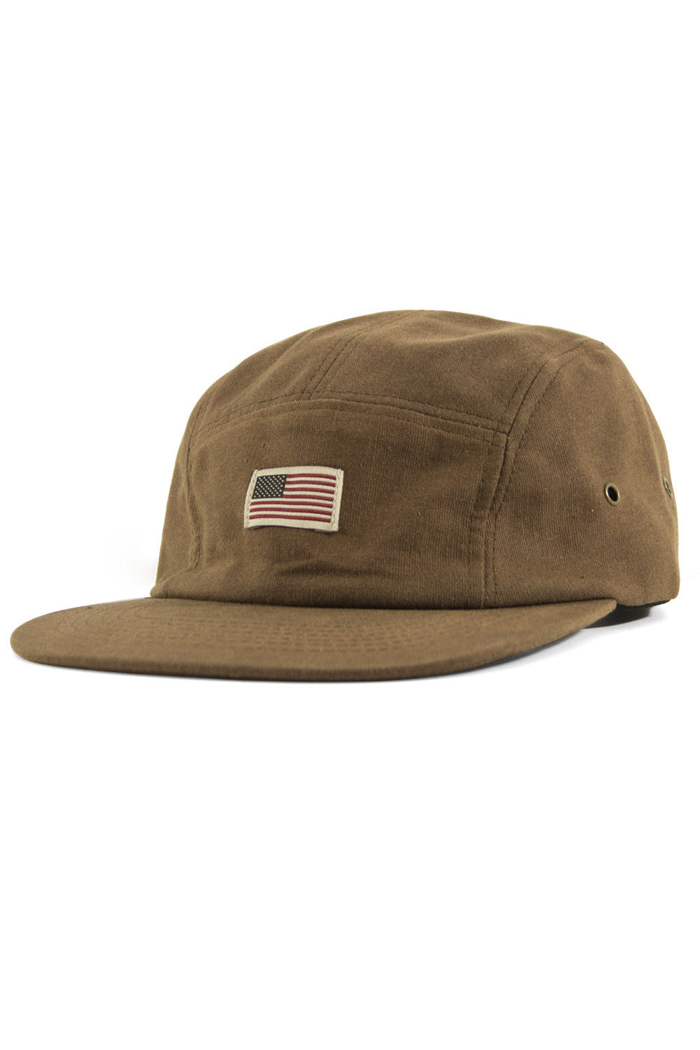 US Flag Waxed Canvas 5 Panel Cap - Brown