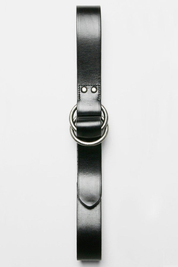 O-Ring Wide Leather Belt - Black