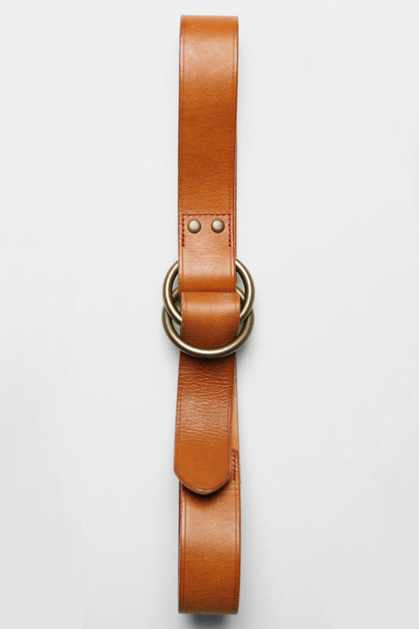 O-Ring Wide Leather Belt - Tan Bridle