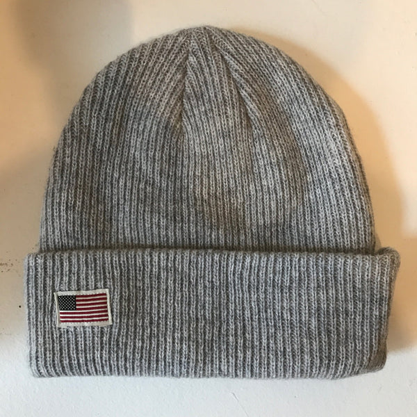 US Flag Merino Wool Beanie - Light Grey