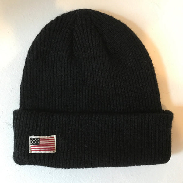 US Flag Merino Wool Beanie - Black