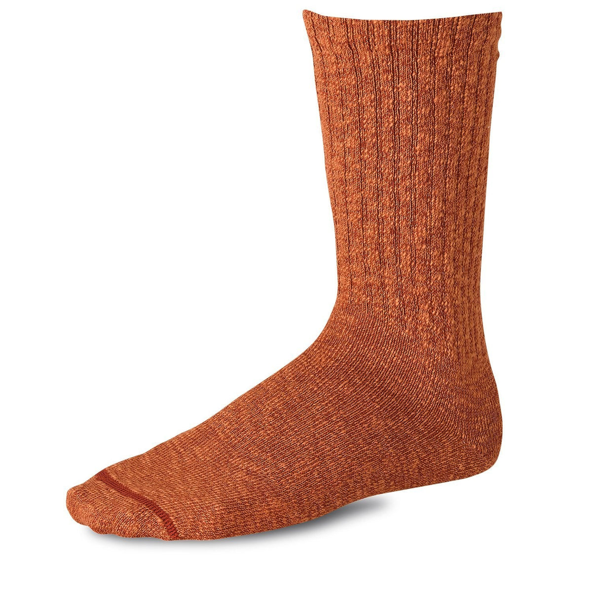 Cotton Ragg Crew Sock 97371 Rust/Burgundy - grown&sewn