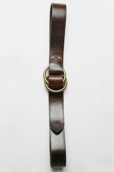 O-Ring Wide Leather Belt - Chocolate