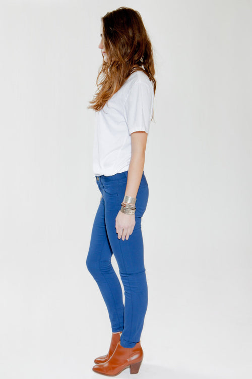 Olivia Skinny Sateen Pant - Pacific Blue