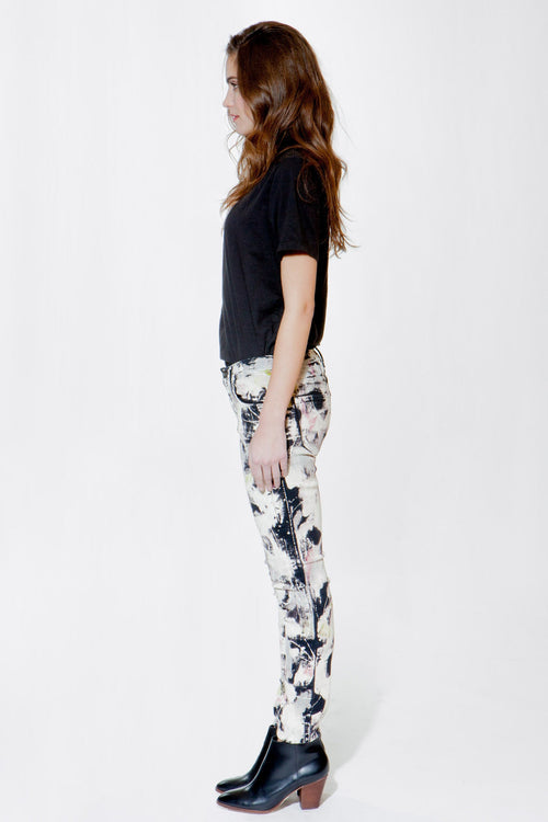 Olivia Skinny Stretch Twill Pant - Hand Painted