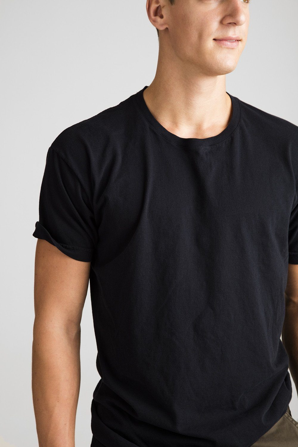 USA Knit Crew Neck T-Shirt - Black - grown&sewn