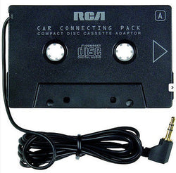 RCA Cassette Wired Playpack Adapter in Black with Stereo Mini Plug Car Auto Tape