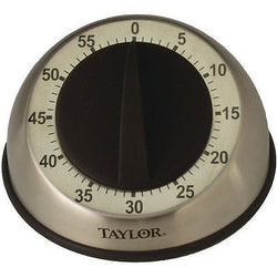 Taylor Stainless Steel 5Star Easy Grip Mechanical Kitchen Timer Soft Rubber Knob