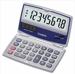 Casio Tiny 8 Digit Folding Solar Battery Silver Calculator for Pocket or Purse