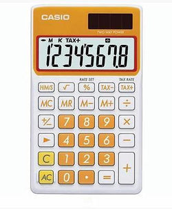 Casio 8 Digit Solar Plus Battery Calculator Auto Off Orange for Pocket or Purse