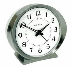 Westclox Battery Operated Quartz Analog Metal Bezel Base Hands Silver Alarm Clock