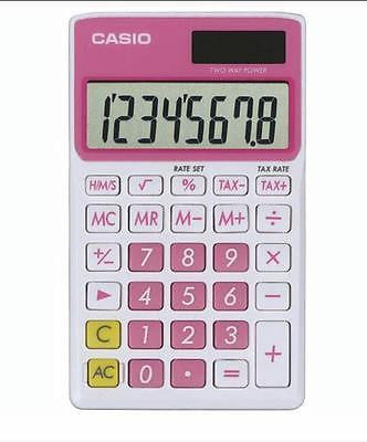 Casio 8 Digit Solar Plus Battery Calculator Auto Off Pink for Pocket or Purse