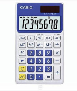 Casio 8 Digit Solar Plus Battery Calculator Auto Off Blue for Pocket or Purse