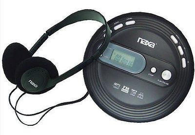 Naxa Portable MP3 CD Player Antiskip FM Radio Headphones Black