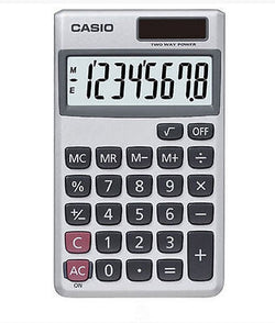 Casio 8 Digit Solar Plus Battery Calculator Auto Off Silver for Pocket or Purse