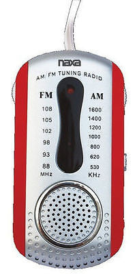 Naxa AM FM Compact Portable Radio Red and Earbuds and Speaker