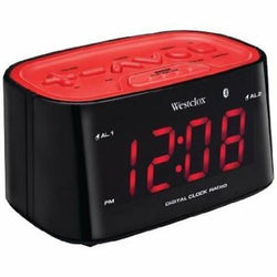 "Westclox 1.2"" Bluetooth Digital Tune FM Dual Alarm Clock Radio USB Charging Port"