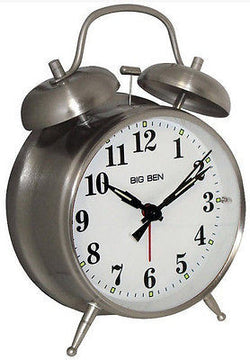 Westclox Twin Bell Silver Analog Alarm Clock Battery Powered Metal Case and Bell