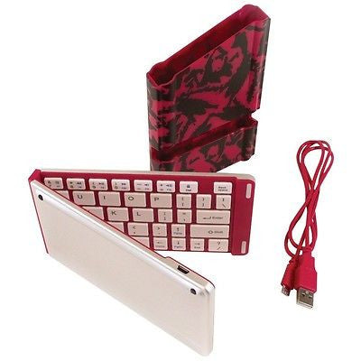 iWerkz Pink Folding Wireless Bluetooth Keyboard for Smartphone Tablet