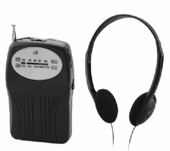 GPX AM FM Portable Radio Black With Speaker and Headphones Included New in Pkg