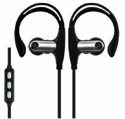Supersonic Black Bluetooth Stereo Earbuds with Mic Remote Secure Fit for Sports