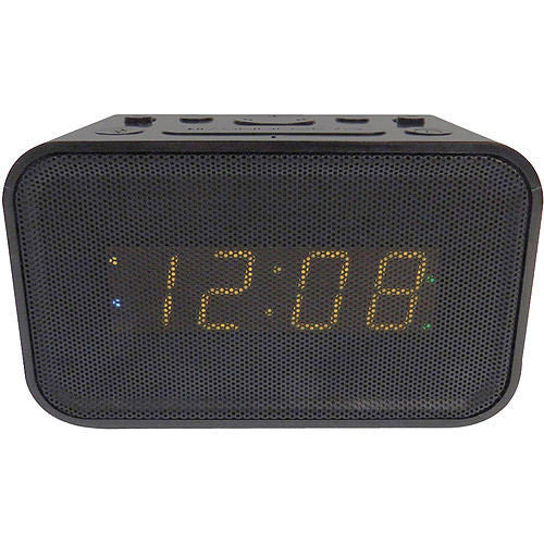 Advance Bluetooth Dual Alarm Clock Black USB Charge Port New