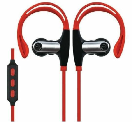 Supersonic Red Bluetooth Stereo Earbuds with Mic Remote Secure Fit for Sports