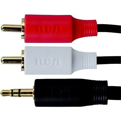 RCA Right Left Red White to 3.5mm 3-Ft Audio Cable Adapter