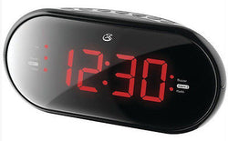 "GPX AM FM Dual Alarm Clock Radio Black 1.2"" Display Dimmer"