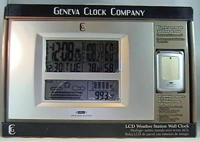 Geneva Clock Wireless Remote Forecasting Weather Station Silver