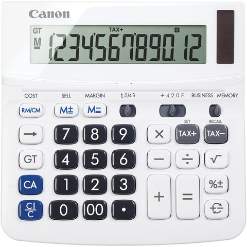 Canon 12 Digit White Desktop Business Calculator with Sell Margin Memory Tax