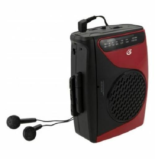 GPX AM FM Black and Red Cassette Player Recorder with BuiltIn Mic and Earbuds