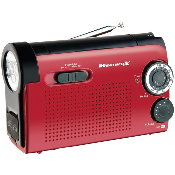 GPX AM FM NOAA Weather Radio Red and Blk Flashlight with Speaker and Hand Crank