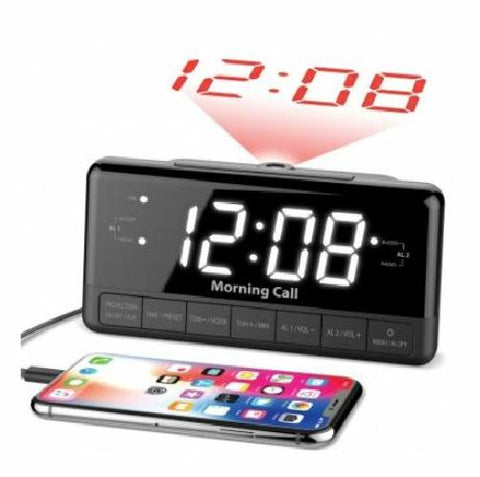 iLuv Morning Call 3 Projection FM Clock Radio Dual Alarm Phone Charging Port