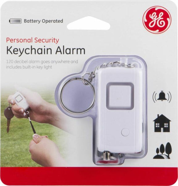 GE Key Chain Alarm Personal Emergency Panic Buttton Flashlight White