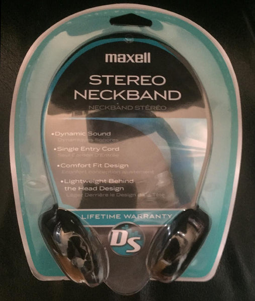 Maxell Black Corded Neckband Behind The Head Headphones 20-22K Hz Single Cord