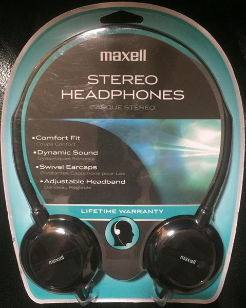 Maxell All Black Lightweight Adjustable Headband Headphones with Swivel Earcaps