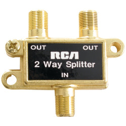 RCA Passive 75 Ohm RF Coaxial Cable Splitter 1 Input 2 Output