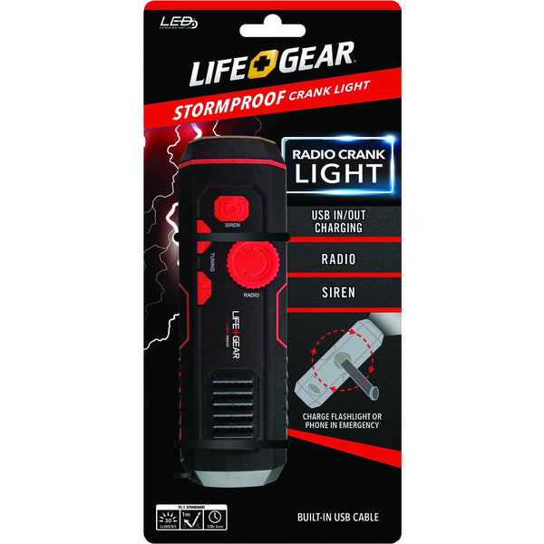 Stormproof Life Gear Crank Light LED Flashlight and FM Radio USB Charging Siren