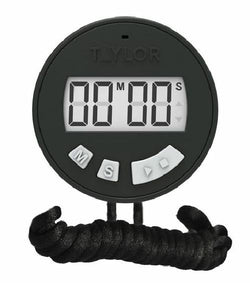 Taylor Black Digital Chef Stopwatch Timer on Lanyard Battery Included