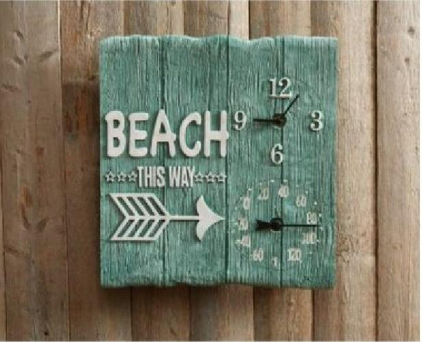 "Taylor BEACH THIS WAY 14"" Wall Clock and Thermometer"