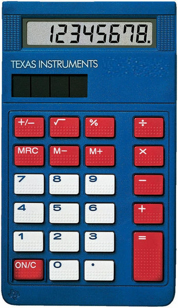 Texas Instruments Blue Basic Calculator with Cover Small for Pocket or Purse New