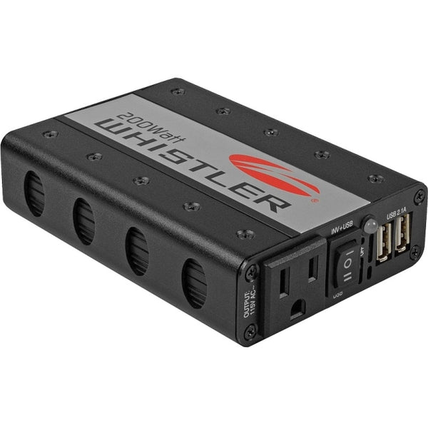 Whistler Power Inverter 12VDC Input 115VAC Output Auto Safety 1 AC + 2 USB Ports