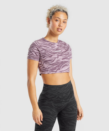 Shop Gymshark Animal Graphic Crop Top - Purple Print From GS | AROS