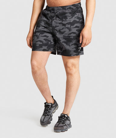 Shop Gymshark Arrival Shorts - Black/Grey Camo From GS | AROS