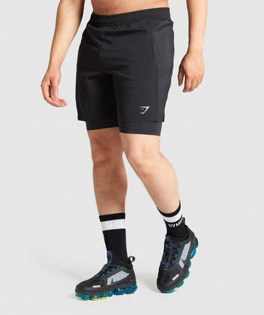 Shop Gymshark Aspect 2 In 1 Shorts - Black From GS | AROS